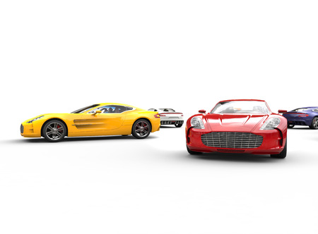 new motor vehicles: Multicolored cars on white background, image shot in ultra high resolution. Stock Photo