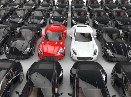 Stand out cars among many black cars, image shot in ultra high resolution. Standard-Bild