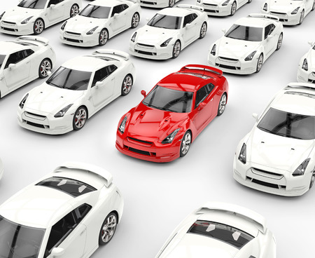 among: Red car among many white cars, image shot in ultra high resolution.