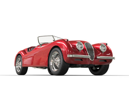 Red vintage car on white background, image shot in ultra high resolution. Stock Photo