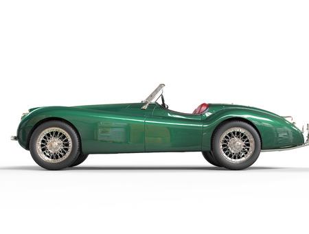 jaguar: Coche viejo verde sobre fondo blanco, imagen disparo en ultra-alta resolución.