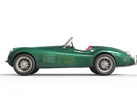 Green old-timer car on white background, image shot in ultra high resolution.
