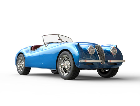 Bright blue vintage car on white background, image shot in ultra high resolution