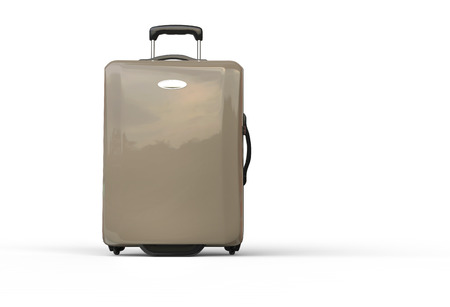 Neutral brown polycarbonate travel baggage suitcase on white background, image shot in ultra high resolution.