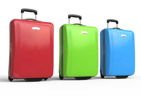 Brightly colored polycarbonate travel baggage suitcases on white background, image shot in ultra high resolution.