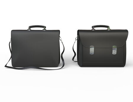 suit case: Black leather business briefcase on white background, image shot in ultra high resolution. Stock Photo