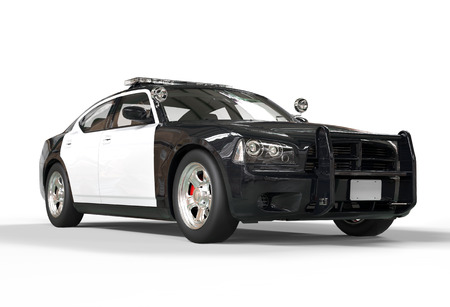 Police car without decals on white background, image shot in ultra high resolution. photo