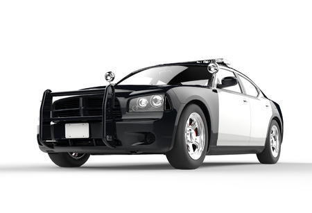 patrol officer: Police car without decals on white background, image shot in ultra high resolution.