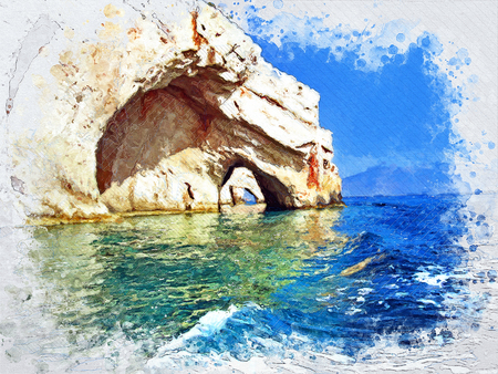 Beautiful cliffs by the sea - Blue Caves - Illustration