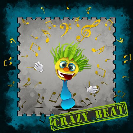 Green haired Crazy Beat Banque d'images - 138454201