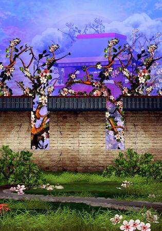 Cherry trees, temple, brick wall and tranquil garden