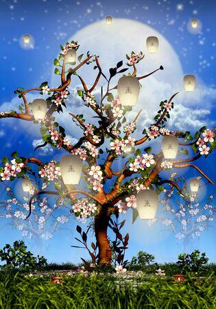 Cherry Tree Blossom, full moon and white lanterns