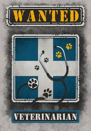 Wanted Veterinarian Poster Illustration Standard-Bild