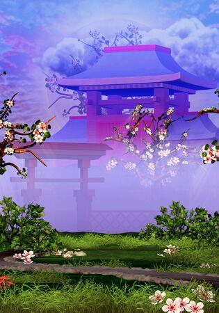 Cherry trees, temple and tranquil garden Standard-Bild