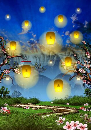 Cherry blossom trees, mountain temple and yellow lanterns Standard-Bild