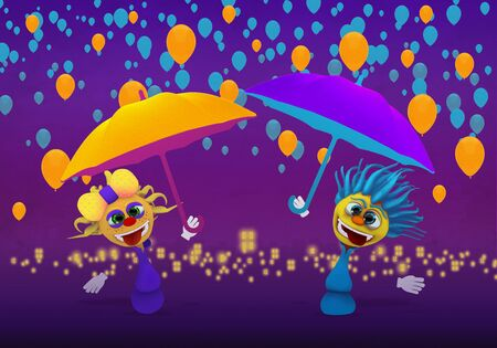 Cartoony Characters  with umbrellas and balloons Standard-Bild