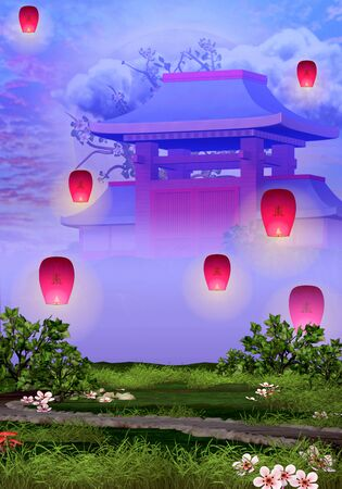 Temple and tranquil garden with pink lanterns