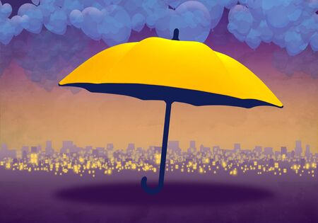 Cartoony Skyline Background at sunset with clouds and yellow umbrella