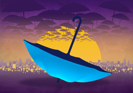 Cartoony Skyline Background at sunset with clouds and blue umbrella_01