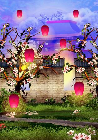 Cherry Tree Blossom,  brick wall and pink lanterns Zdjęcie Seryjne