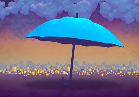 Cartoony Skyline Background at sunset with clouds and blue umbrella
