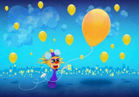 Cartoony Character With yellow Balloons