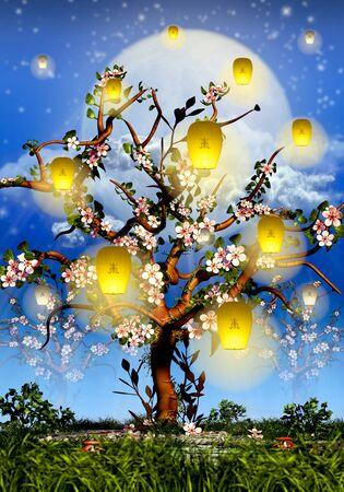 Cherry Tree Blossom, full moon and yellow lanterns Standard-Bild