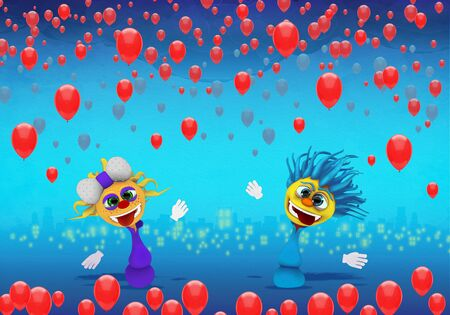 Cartoony Characters  and red balloons
