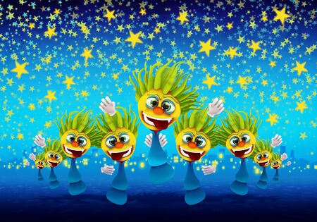 Cartoony Characters Under Starry Night