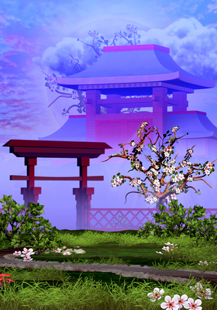 Cherry tree, temple and tranquil garden Standard-Bild - 126581632