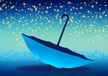 Cartoony Skyline Background with blue umbbrella and stars