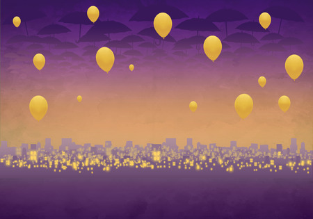 Cartoony Skyline Background at sunset with clouds, umbrellas and yellow balloons Stok Fotoğraf