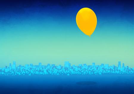 Cartoony Skyline Background with yellow balloon