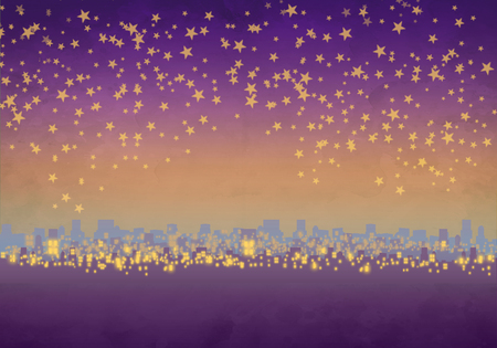 Cartoony Skyline Background at sunset with stars Standard-Bild - 125787937