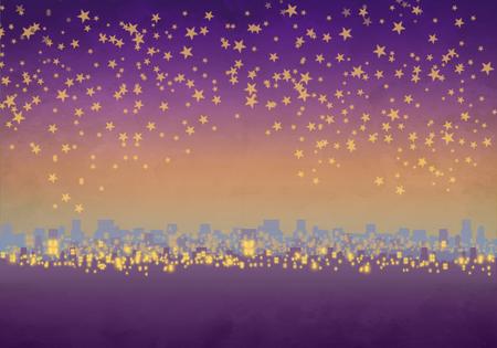 Cartoony Skyline Background at sunset with stars