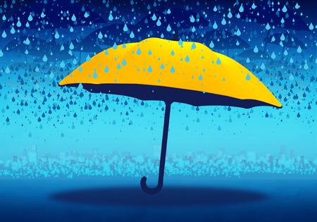 Cartoony Skyline Background with yellow umbbrella and rain