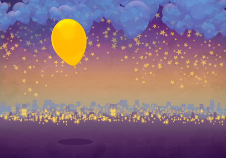 Cartoony Skyline Background at sunset with clouds, stars and yellow balloon Standard-Bild - 125787940