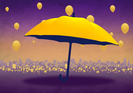 Cartoony Skyline Background at sunset with yellow umbrella and yellow balloons Standard-Bild - 125787946