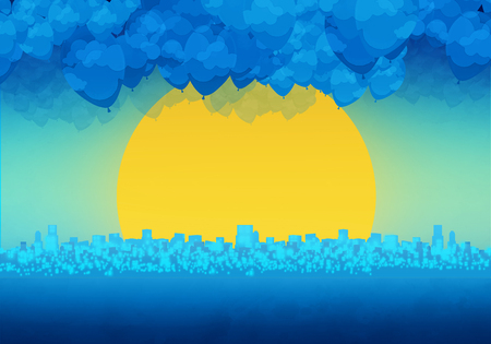 Cartoony Skyline Background with sunset and clouds Standard-Bild - 125787947