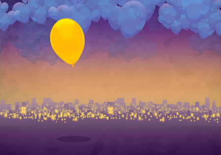 Cartoony Skyline Background at sunset, clouds and yellow balloon