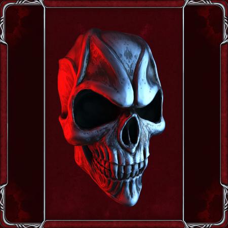 Evil vampire skull in red Stock Photo