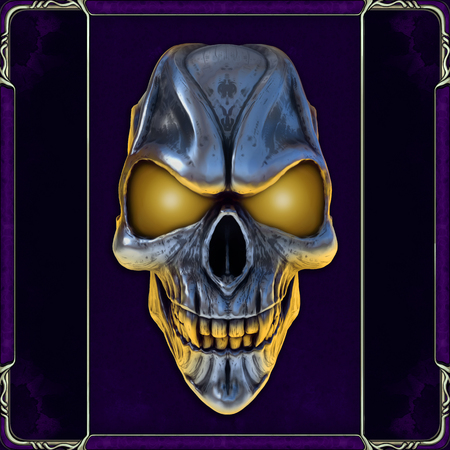 Skull with glowing yellow eyes