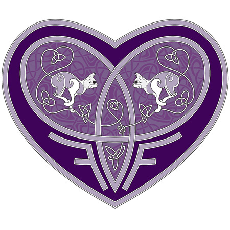 Celtic design of a heart with two cats inside Vector