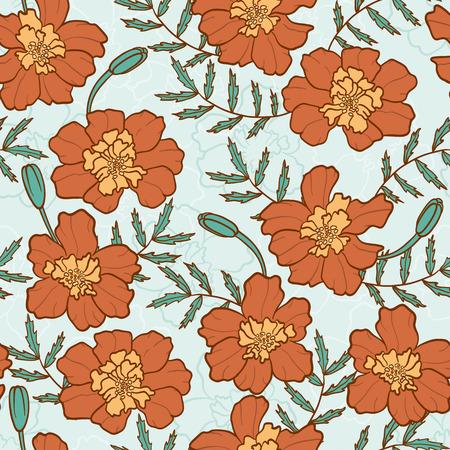 cempasuchil: Textura transparente con flores de cal�ndula estampado de flores sin fin Vectores