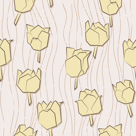 pale colors: Seamless pattern with paper tulips  Stylized tulips  Endless pattern in pale colors