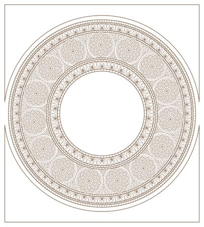 golden daisy: Ornamento de mosaico redondo, estilizado de oro-daisy y mariposa