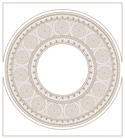 Round mosaic ornament,   stylized golden-daisy and butterfly  Vector