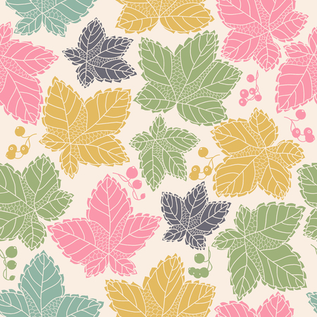 Seamless pattern with leaves and berries,  background in autumn colors