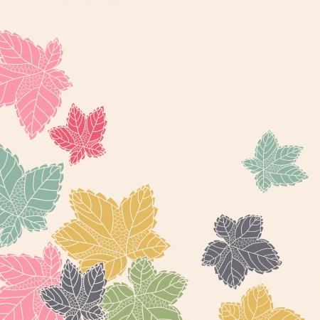 Modello ad angolo con foglie che volano via, sfondo in autunno colori del modello per la carta dell'invito