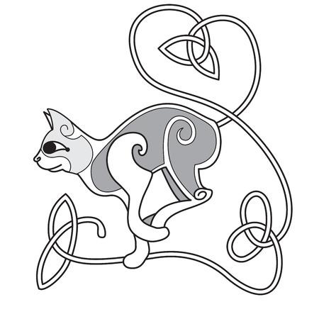 celtico: Disegno celtico di un gatto con cuore coda annodata Vettoriali